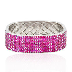 Natural Pave Ruby 925 Silver Wide Bangle Bracelet Fashion Jewelry For Women