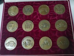 Vintage Set Of 12 Bronze Medals From The Portuguese National Coach Museum