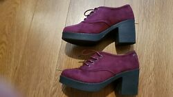 Stunning Burgundy Mustang Platform Faux Suede Shoes Size 4used