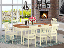 East West Furniture Dopl9-whi-c Wooden Dining Set 9 Pc - Linen Fabric Dining Cha