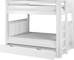 Camaflexi Mission Style Solid Wood Bunk Bed With Trundle, Twin-over-twin, End An