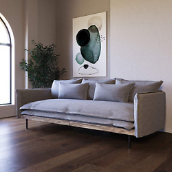 Limari Home Hansen Collection Modern Style Living Room Fabric Upholstered Sofa W