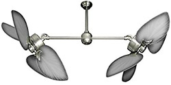 Twin Star Iii Double Ceiling Fan In Brushed Nickel With 50 Outdoor Bombay Blade