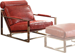 Acme Furniture Quinto Accent Chair Antique Red Top Grain Leather/stainless Stee