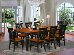 9 Pc Kitchen Table Set With A Dining Table And 8 Wood Seat Dining Chairs In Butt