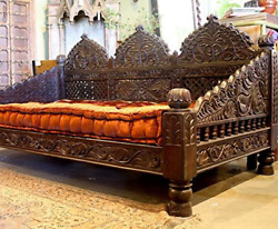 Worldcraft Industries Jhula Carved Day Bed 88x44x36