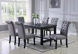 Roundhill Furniture Aneta Antique Black Finished Wood Dining Set Table With Six
