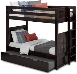 Camaflexi Mission Style Solid Wood Bunk Bed With Trundle And End Angled Ladder
