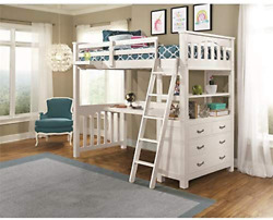 Ne Kids Highlands Twin Loft Bed With Desk And Hanging Nightstand In White