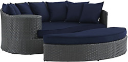 Modway Sojourn Wicker Rattan Outdoor Patio Sunbrella Fabric Daybed In Canvas Nav