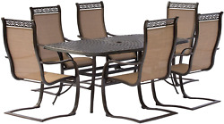 Hanover Mandn7pcsp-p Manor Six C-spring Chairs And A 72 X 38 Cast-top Table Outd