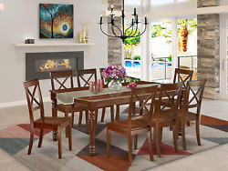 East West Furniture 9pc Rectangular 60/78 Family Table With 18 In Butterfly Lea