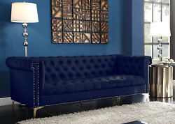 Iconic Home Winston Modern Tufted Gold Nail Head Trim Navy Blue Pu Leather Sofa