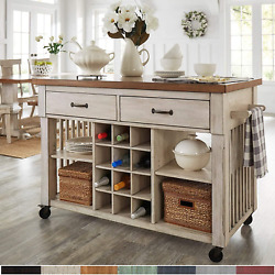 Inspire Q Eleanor Two-tone Rolling Kitcn Island With Wine Rack By Classic Antiqu
