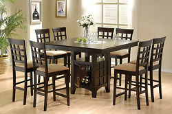 Coaster Home Furnishings 9 Piece Counter Height Storage Dining Table W/lazy Susa