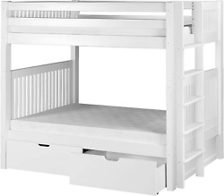 Camaflexi Mission Style Solid Wood Bunk Bed With Drawers And End Angled Ladder,