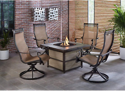 Hanover Monaco 5-piece Rust-free Aluminum Outdoor Patio Fire Pit Chat Set With 4
