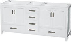 Sheffield 72 Inch Double Bathroom Vanity In White No Countertop No Sinks And