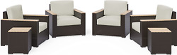 Homestyles 6800-114-td 6-piece Outdoor Set 6pc 4 Seat Brown
