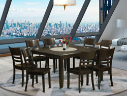 East West Furniture Pfly9-cap-w 9 Pc Dining Room Set Table With Leaf And 8 Kitch
