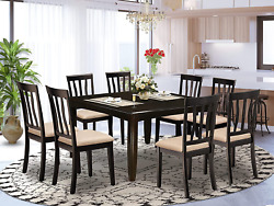9 Pc Dining Room Set-square Gathering Table With Leaf And 8 Dining Chairs