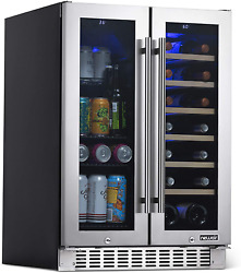 Newair 18 Bottle 58 Can French Door Wine And Beverage Cooler - White Red Wine Co