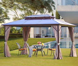 Yoleny 10and039x13and039 Outdoor Polycarbonate Double Roof Hardtop Gazebo Canopy Curtains