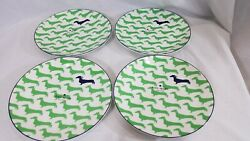 New S/4 Kate Spade Lenox Wickford Dachshund Dog Accent Plates 9 Navy Green Nwt