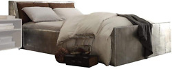 Acme Brancaster Queen Bed W/storage - - Retro Brown Top Grain Leather And Aluminum