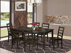 East West Furniture 7-piece Dining Room Set Included A Self-storing Butterfly Le