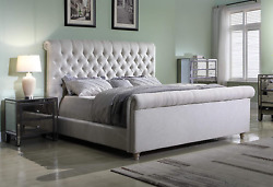 Best Master Furniture Jean-carrie Upholstered Sleigh Bed Queen Beige