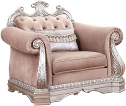 Acme Furniture Chair Velvet And Antique Silver