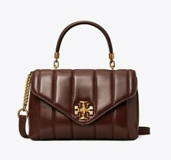 Tory Burch Kira Leather Quilted Small Satchel Handbag Purse in Tempranillo $450.00