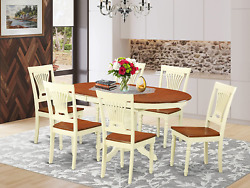 East West Furniture Kepl7-whi-w 7 Pieces Brown