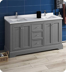 Fresca Windsor 60 Gray Textured Traditional Double Sink Bathroom Cabinet W/top