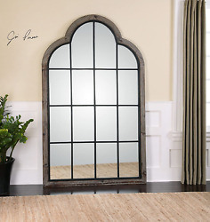 My Swanky Home Oversized 80 Divided Light Window Arch Mirror | Wall Floor Leane