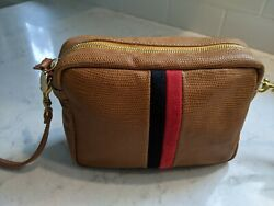 Clare V. Midi Sac Leather Crossbody Tan Lizard Nvy Red Stripe Suede. Preowned $279.00