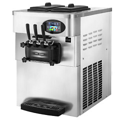 Vevor 2200w Commercial Soft Ice Cream Machine 3 Flavors 5.3 To 7.4gallons Per Ho