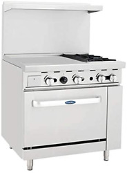 Atosa Ato-24g2b 36and039and039 Gas Range. 2 Open Burners And 24and039and039 Griddle On The Left Wi