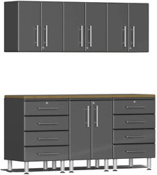 Ulti-mate Ug22072g 7-piece Garage Cabinet Kit With Bamboo Worktop In Graphite Gr