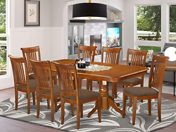 East West Furniture Napo9-sbr-c 9-piece Dining Room Table Set