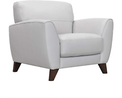 Armen Living Jedd Leather Sofa Accent Chair Dove Grey