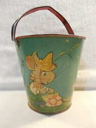 Vintage 1930s Ohio Art Fern Bisel Peat Country Mouse And City Mouse Tin Sand Pail