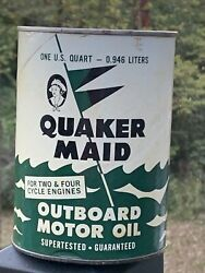 Vintage Quaker Made Outboard Motor Oil Can Cardboard Can 1 Quart Nice Color