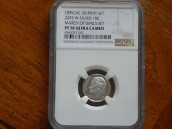 2015 W Proof Roosevelt Silver Dime Ngc Pf 70 Ultra Cameo