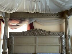 Canopy Bedroom Set King. Complete Set. Marble Shine On Top Of Dressers