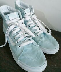 VANS Off the Wall Baby Blue Canvas Lace Up High Top Shoes Men's 7 Women's 8.5