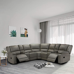 Symmetrical Sectional Sofa Pu Leather Corner Reclining Sofa With 2 Consoleslivi