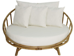 Zew Bamboo Round Daybed Outdoor Indoor Large Accent Sofa Chair Lawn Pool Garden