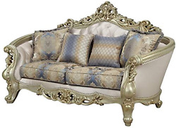 Acme Gorsedd Loveseat W/4 Pillows - - Fabric And Antique White